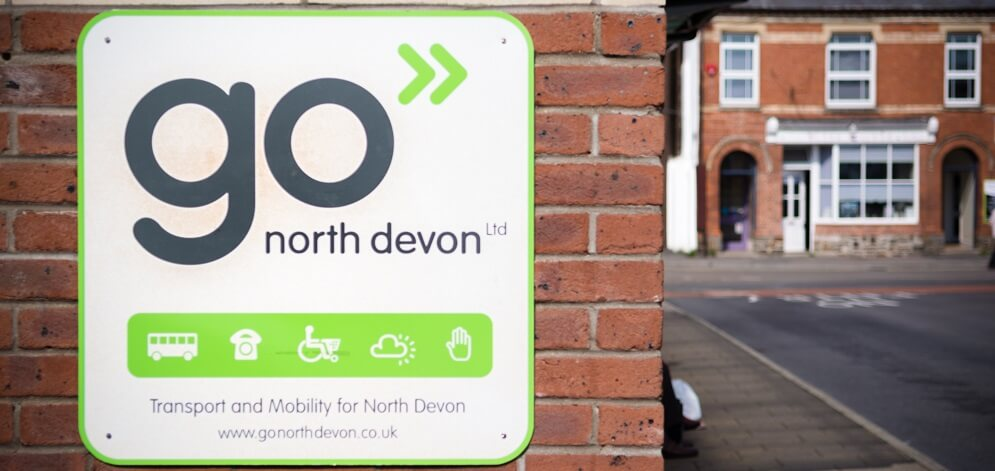 Go North Devon sight on the site of the shop mobility centre with the words Transport and mobility for North Devon.